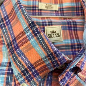 Peter Millar Orange Blue Plaid Casual Dress Shirt